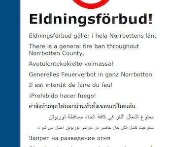 Viktig information: Eldningsförbud i Norrbotten.
