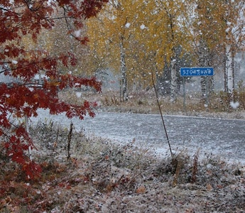 Snöfall i Storsund